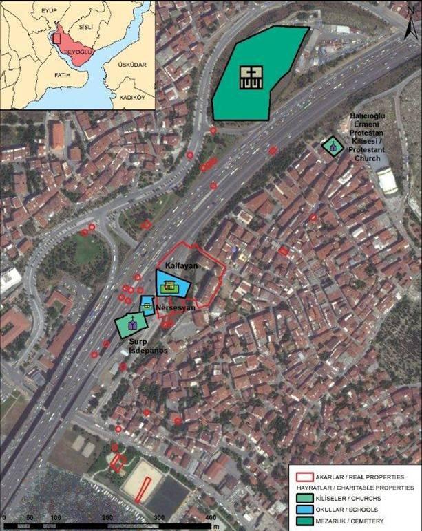 Propriedades armênias no distrito de Beyoglu que também foram confiscados e apesar de ter atividades armênias são propriedades sob intervenção das autoridades de Istambul.