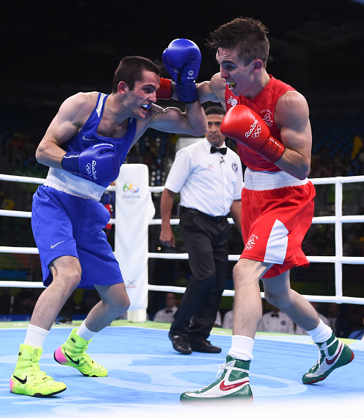 Rio , Brazil - 14 August 2016; Michael Conlan, right, of Ireland in action against Aram Avagyan of Armenia during their Bantamweight preliminary round of 16 bout in the Riocentro Pavillion 6 Arena, Barra da Tijuca, during the 2016 Rio Summer Olympic Games in Rio de Janeiro, Brazil. (Photo By Ramsey Cardy/Sportsfile via Getty Images)