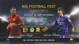 Neste domingo (08), lendas do futebol farão jogo festivo em Yerevan